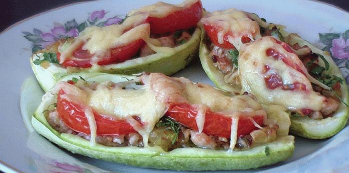Кабачок лодочкой с фаршем в духовке рецепты с пошагово