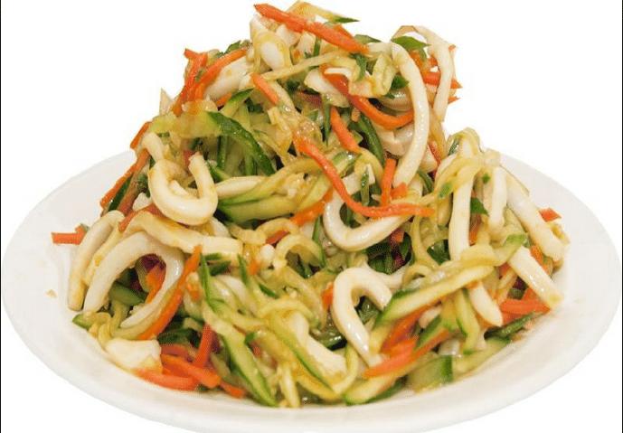 Постный салат из кальмара