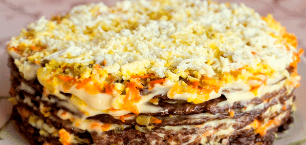простой рецепт печеночного торта из говяжьей печени