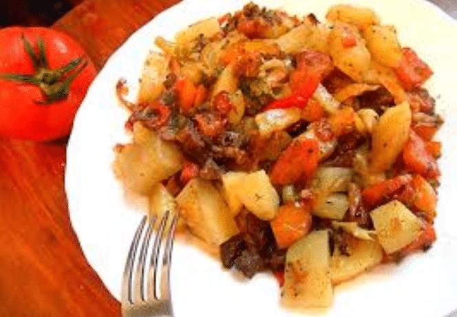 овощное рагу с кабачками баклажанами и картошкой и мясом рецепт с фото