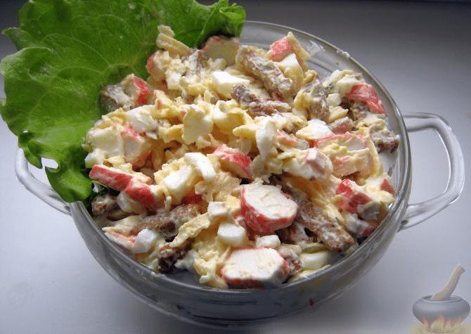 Рецепт салат с сухариками и крабовыми палочками рецепт