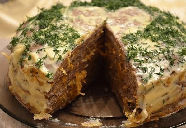 Рецепт печеночного торта из говяжьей печени